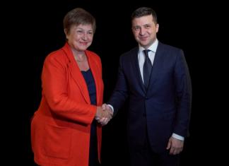 директор-распорядитель МВФ Кристалина Георгиева и Владимир Зеленский